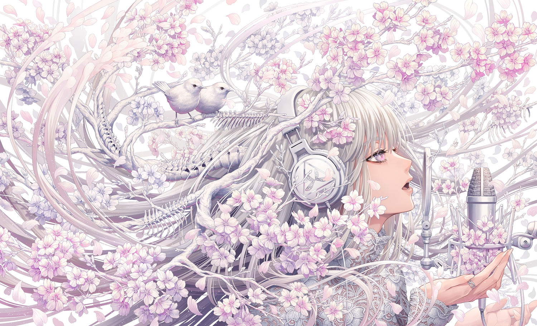 animal bird bones cherry_blossoms close flowers gray_hair headphones long_hair microphone minami_(minami373916) original petals purple_eyes spring