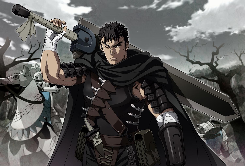 all_male animal armor bandage berserk black_eyes black_hair cape clouds guts horse knife male nyoronyoro short_hair sky sword tree weapon wink