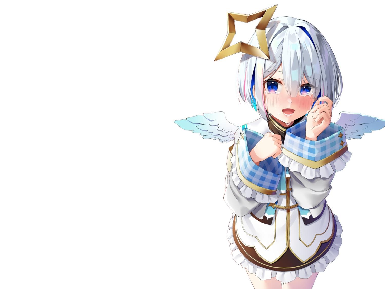 aliasing amane_kanata angel blue_eyes blush crying dress gray_hair halo hololive k_mugura short_hair tears wings