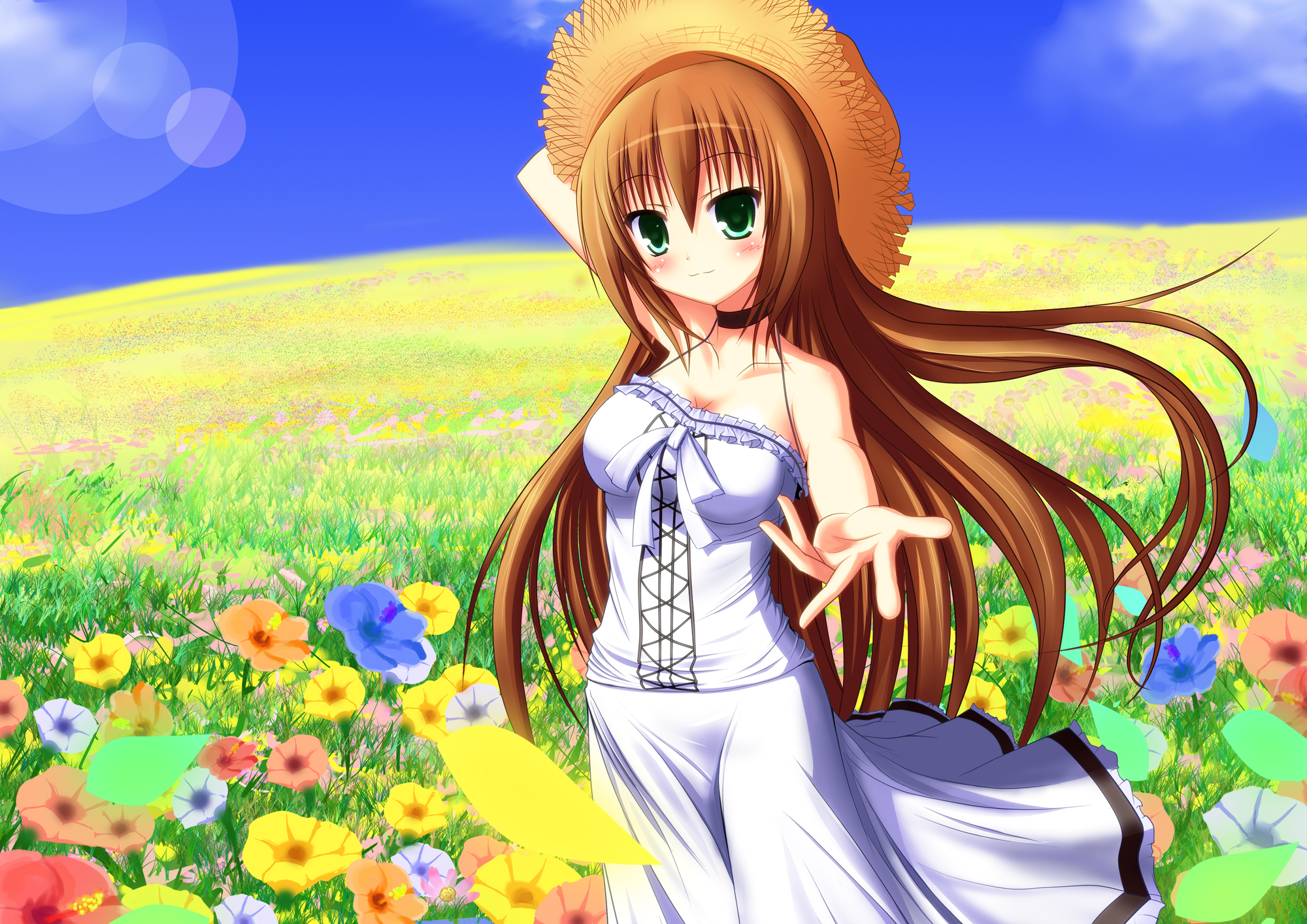 brown_hair dress flowers green_eyes hat long_hair nyarumi_(buluerose) original summer_dress