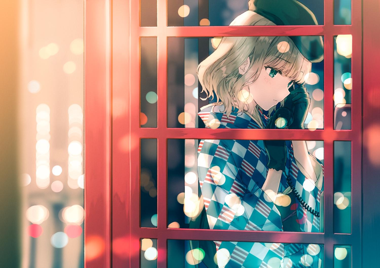 blush brown_hair gloves green_eyes hat hiten_goane_ryu japanese_clothes original phone short_hair yukata
