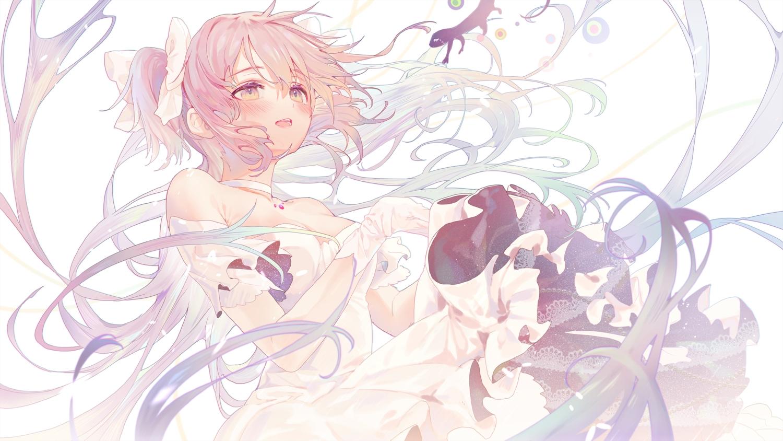 blush dress gloves kaname_madoka long_hair mahou_shoujo_madoka_magica pink_hair torano twintails ultimate_madoka yellow_eyes