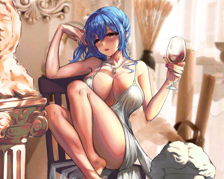 anthropomorphism azur_lane barefoot blue_hair breasts brown_eyes but cropped drink necklace st._louis_(azur_lane)