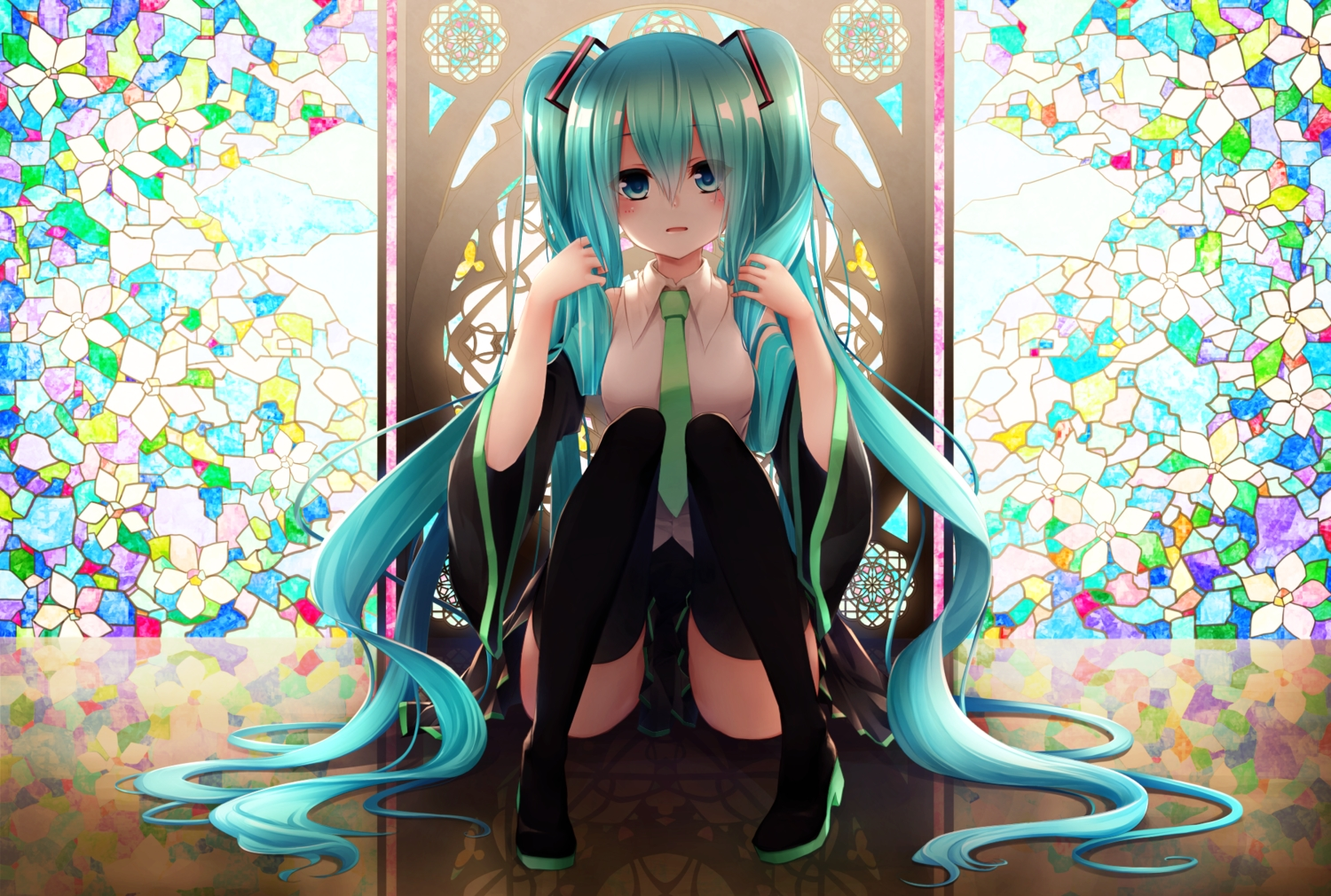 blue_eyes green_hair hatsune_miku hotto_kakigōri long_hair skirt thighhighs tie twintails vocaloid