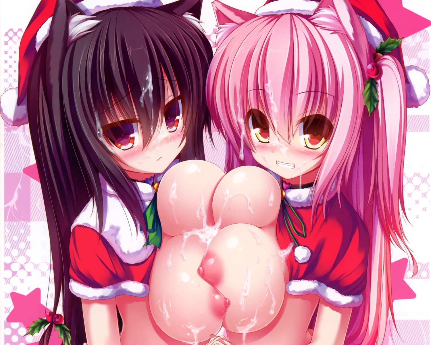 2girls animal_ears black_hair blush breasts catgirl christmas cropped cum long_hair mia_flatpaddy nipples original pink_hair shia_flatpaddy syroh