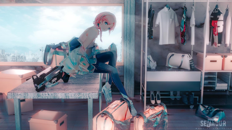 3d aqua_eyes arknights blue_poison_(arknights) bra braids drink gun headband pink_hair polychromatic seymour twintails underwear weapon