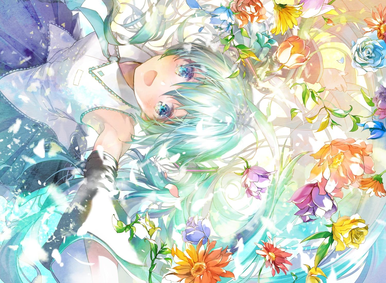 888myrrh888 aqua_eyes aqua_hair flowers hatsune_miku long_hair tie twintails vocaloid
