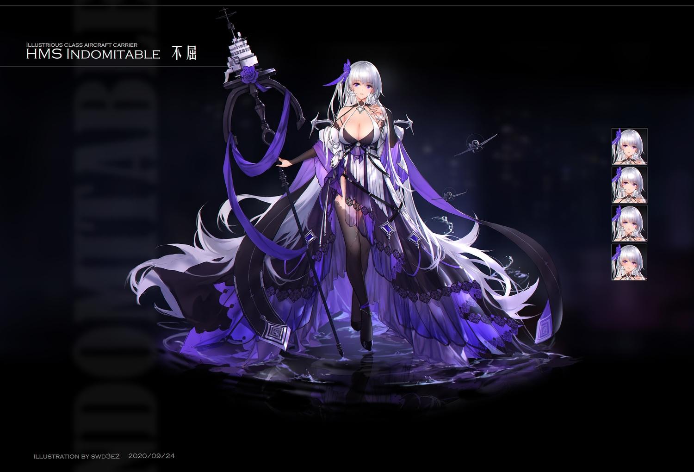 anthropomorphism azur_lane black dress gray_hair long_hair original purple_eyes staff swd3e2 water watermark