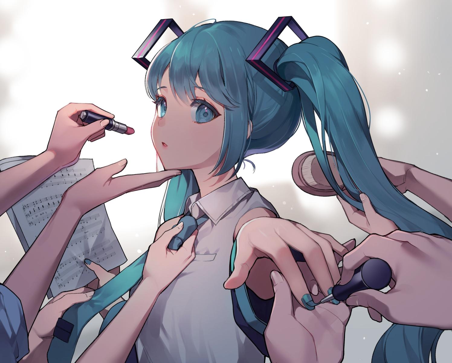 aqua_eyes aqua_hair azit_(down) cropped hatsune_miku long_hair music paper tie twintails vocaloid