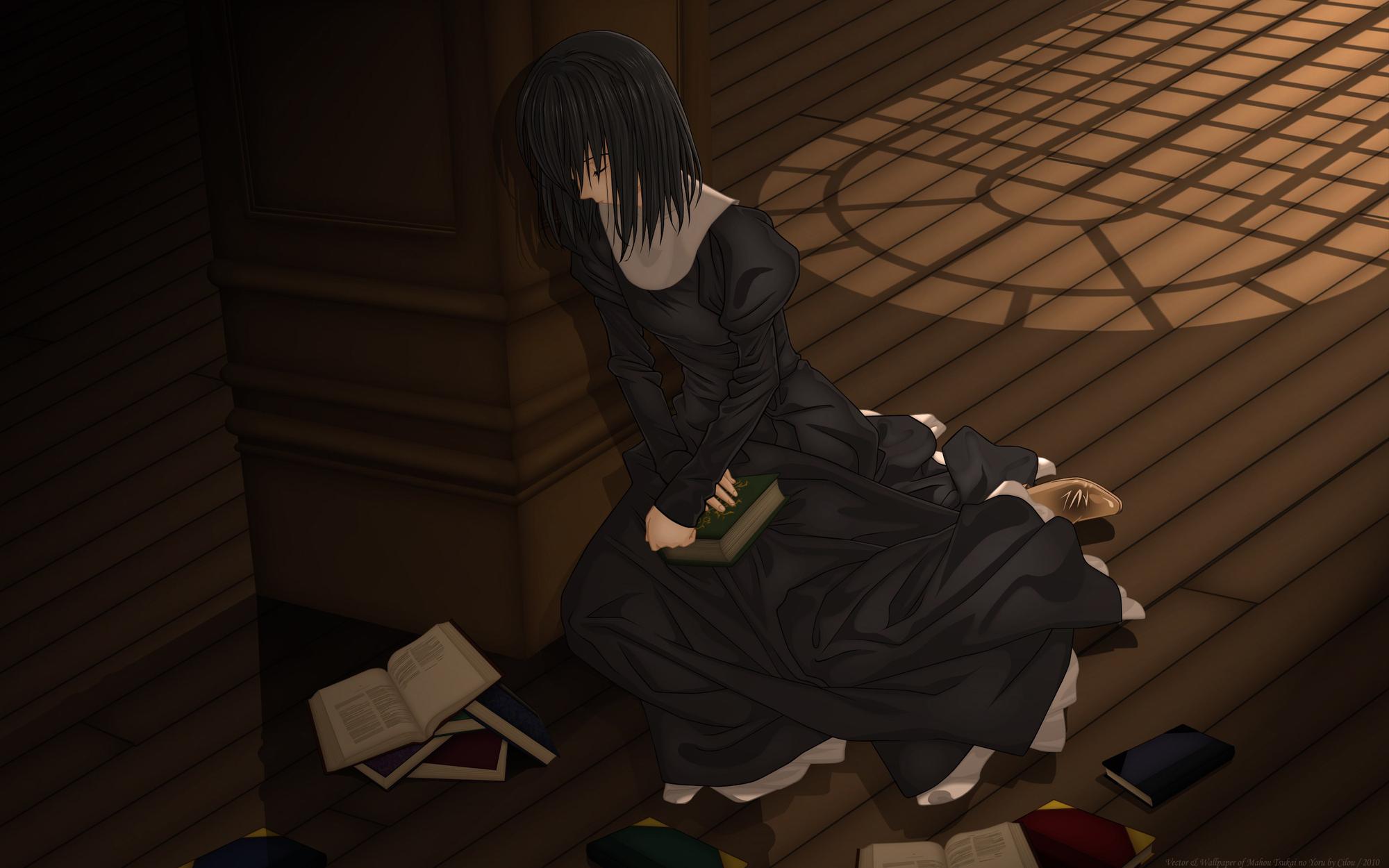 Black Hair Book Dress Kuonji Alice Mahou Tsukai No Yoru Short Hair
