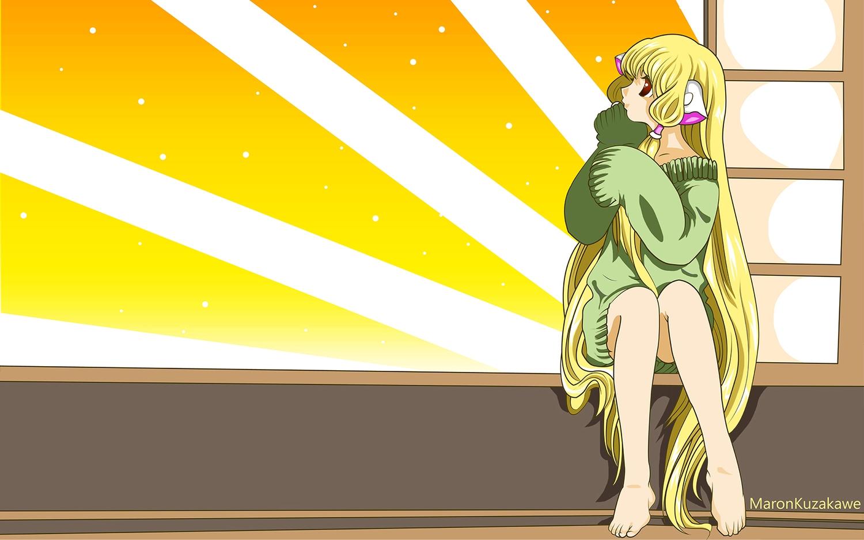 barefoot blonde_hair chii chobits kuzakawe_maron long_hair watermark