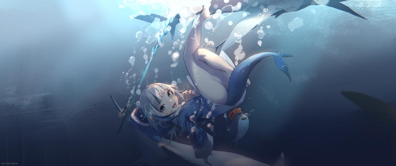 animal ass biittertaste blue gawr_gura gradient hololive hoodie nopan shark tail underwater water watermark