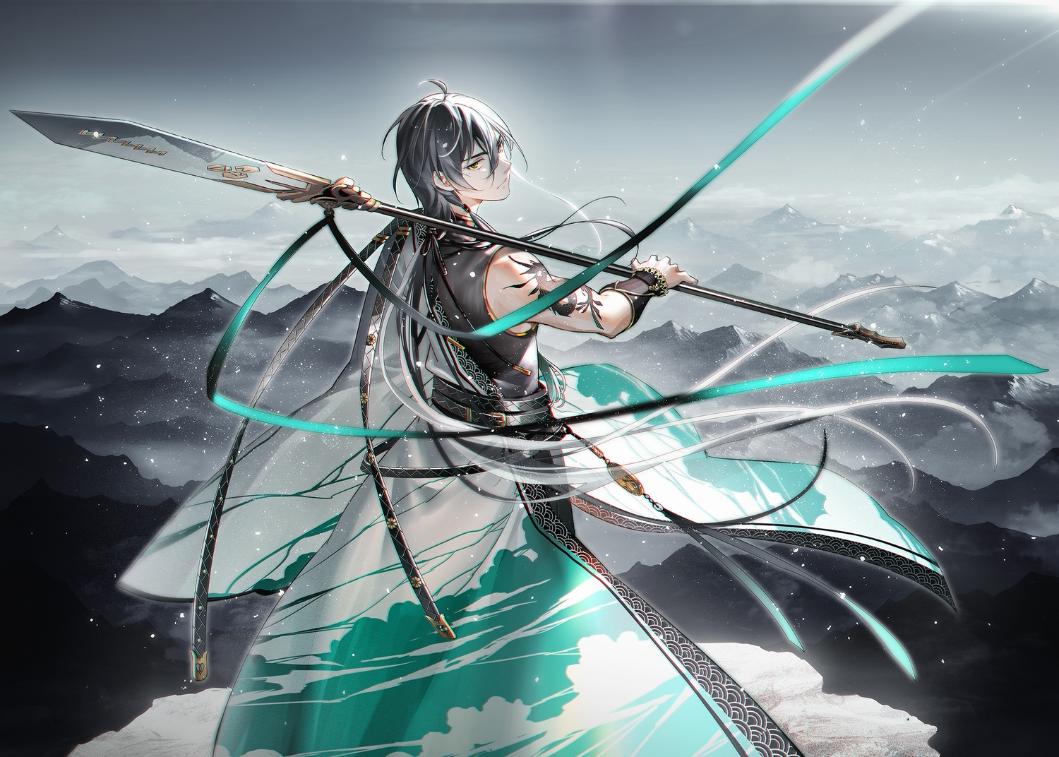 all_male black_hair chinese_clothes landscape male ribbons scenic spear tattoo tidsean vocaloid vocaloid_china weapon wristwear yellow_eyes yuezheng_longya