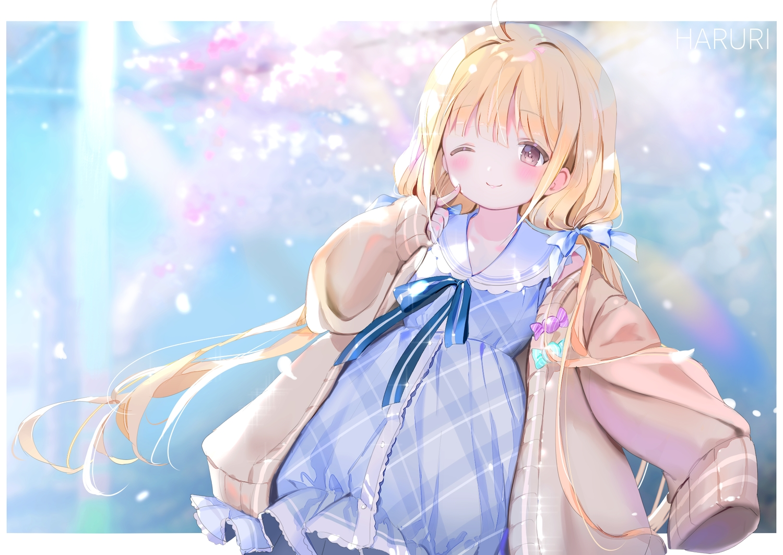 aliasing blonde_hair blush bow brown_eyes dress futaba_anzu idolmaster idolmaster_cinderella_girls loli lolita_fashion long_hair mullpull ribbons twintails watermark wink