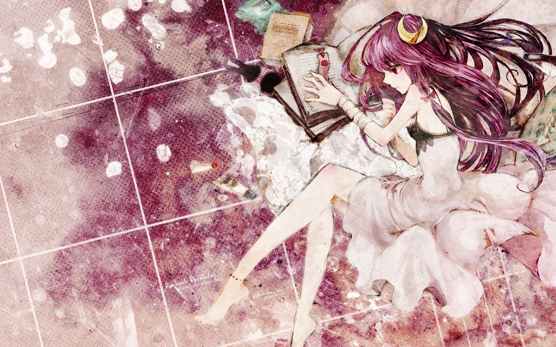book dress duca long_hair patchouli_knowledge purple purple_eyes purple_hair touhou