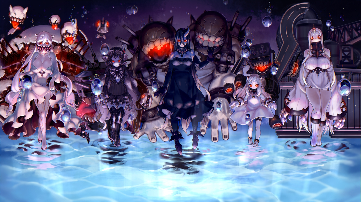anthropomorphism battleship_water_oni black_hair breasts cleavage dress goth-loli group horns isolated_island_hime japanese_clothes kantai_collection kareha_(sakura-turibito) loli lolita_fashion long_hair midway_hime northern_ocean_hime red_eyes seaport_hime short_hair thighhighs water white_hair