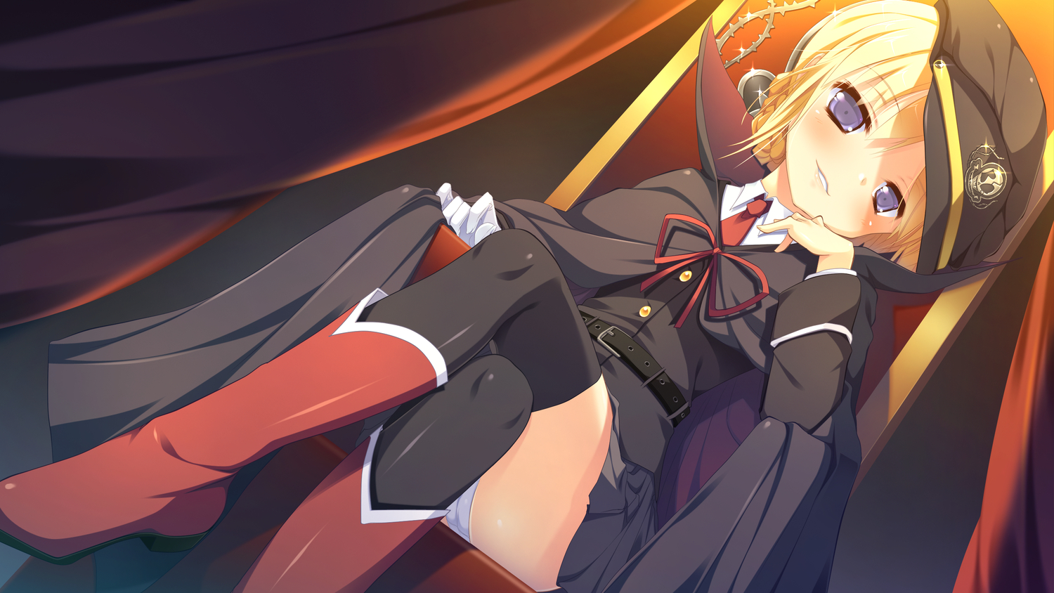 alcot amamoto_rui blonde_hair boots cape game_cg gloves hat naka_no_hito_nado_inai nimura_yuushi panties purple_eyes ribbons short_hair thighhighs tie underwear uniform