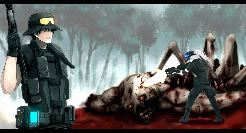black_eyes black_hair blood blue_eyes boots demon forest gloves goggles gun hat onibi_(foxhound4185) original phone ponytail short_hair tree weapon white_hair