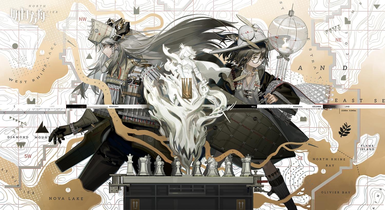 2girls arknights brown_eyes brown_hair glasses gloves gray_hair hat horns logo long_hair norizc samurai saria_(arknights) short_hair silence_(arknights)