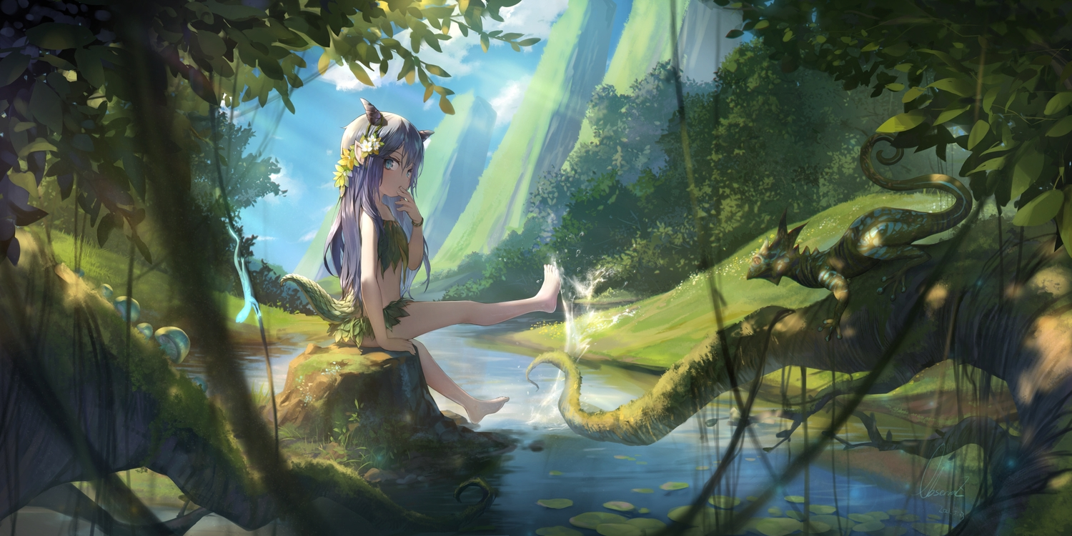 animal barefoot blue_eyes blue_hair clouds flowers forest headdress horns leaves loli long_hair observerz original shade signed sky tail tree water
