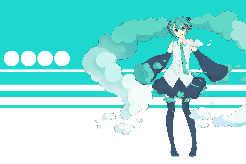 aqua_eyes aqua_hair arik boots clouds hatsune_miku tagme thighhighs tie twintails vocaloid