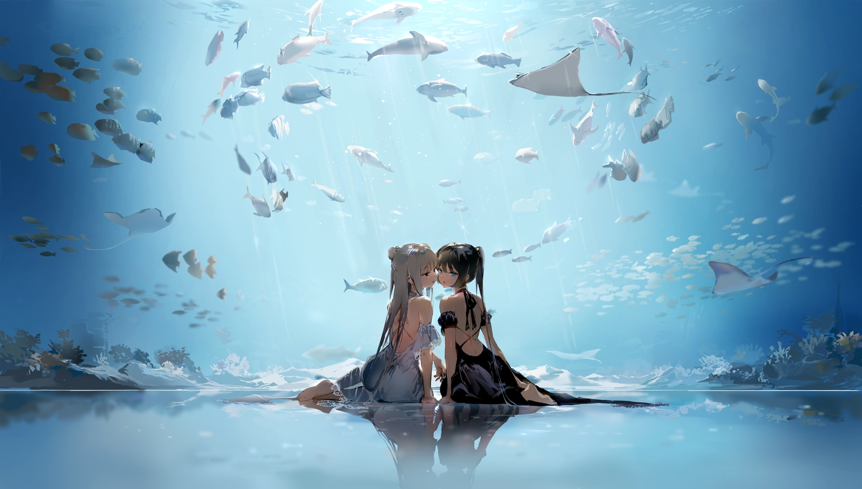 2girls animal anmi barefoot blue_eyes brown_hair dress fish gray_hair long_hair original ponytail reflection shoujo_ai underwater water