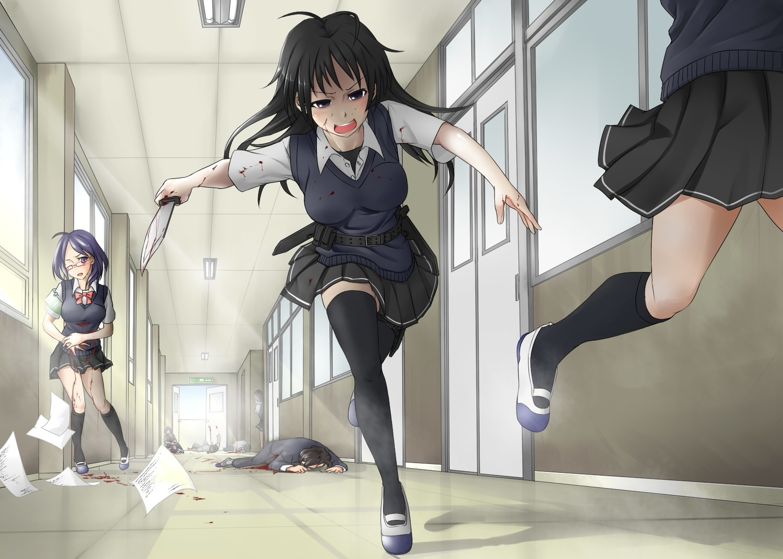 black_eyes black_hair blood erikku_(kata235) knife original school_uniform