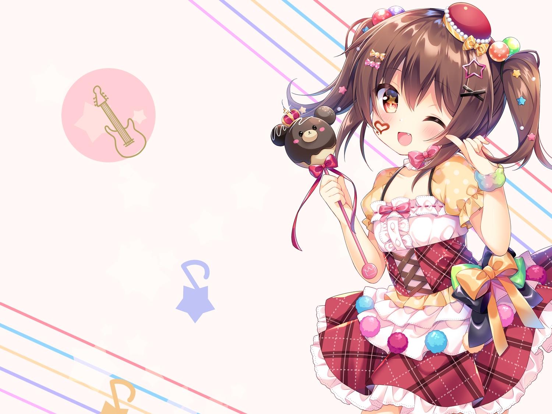 blush bow brown_hair candy chocolate dress fang loli red_eyes ribbons twintails umeko_machi wand wink wristwear
