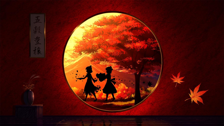 aki_minoriko aki_shizuha autumn endlesscat silhouette touhou