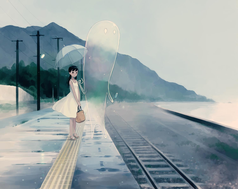 black_eyes blue_hair blush dress food kokudou_juunigou original popsicle train tree umbrella water