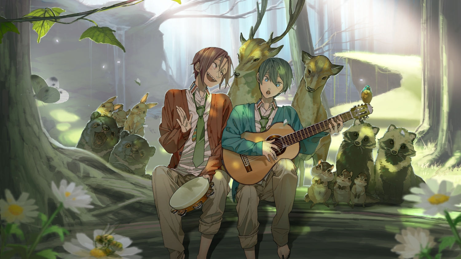 all_male animal barefoot bear bird butterfly forest free! guitar instrument male matsuoka_rin nanase_haruka rabbit suit tie tree