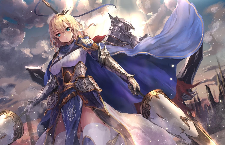 aqua_eyes armor blonde_hair clouds dress manichi original short_hair sky spear thighhighs weapon