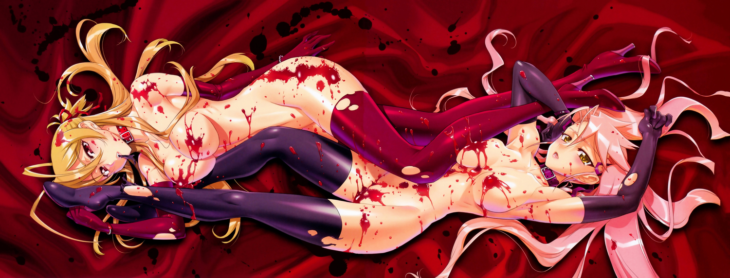 2girls blood choker cleavage elbow_gloves highschool_of_the_dead inazuma long_hair miyamoto_rei nude red scan takagi_saya thighhighs torn_clothes