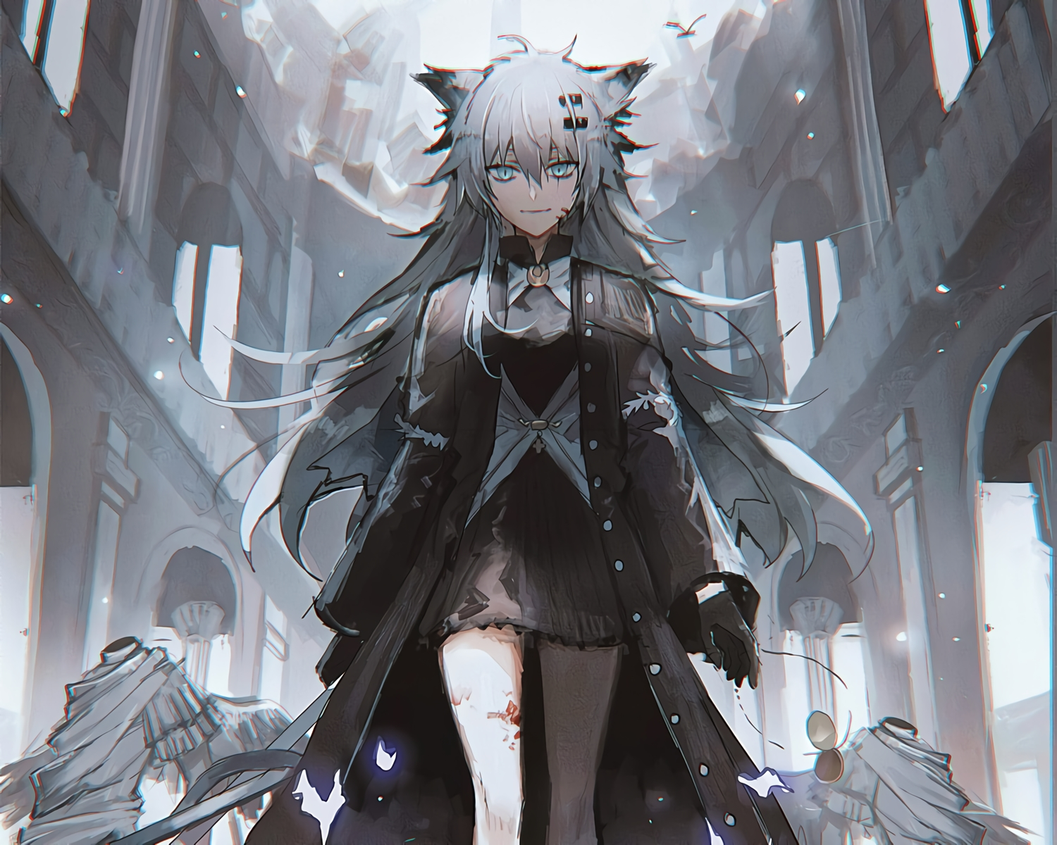 animal_ears arknights blood blue_eyes cropped gray_hair lappland_(arknights) lococo:p waifu2x