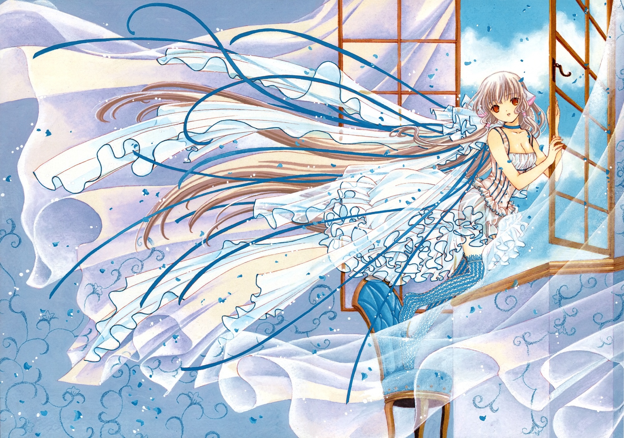blue breasts chii chobits clamp cleavage dress nopan scan thighhighs