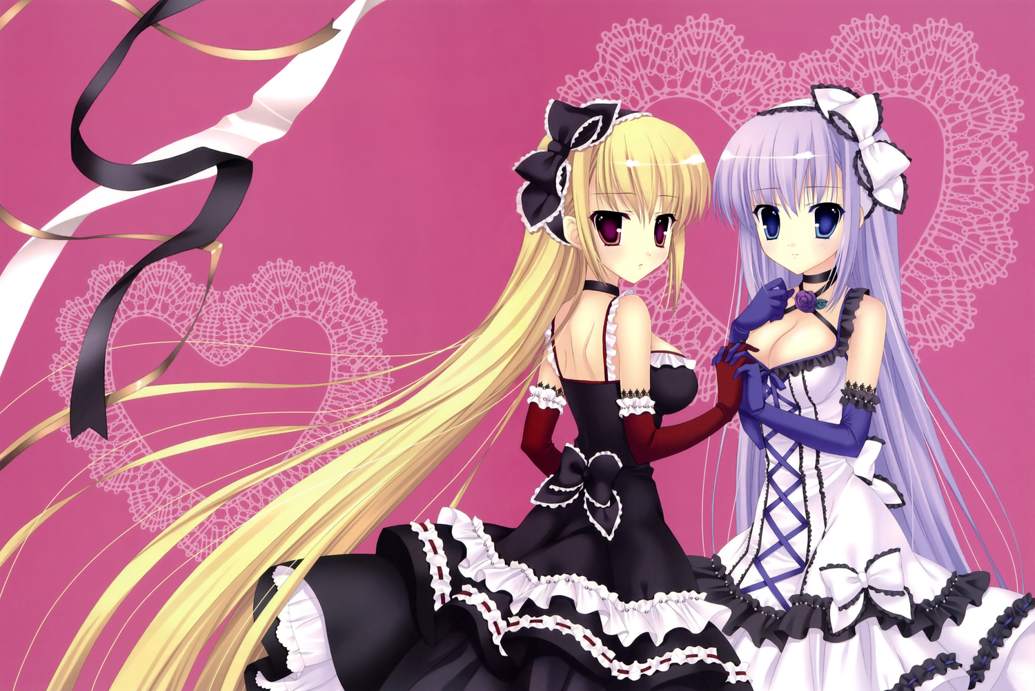 2girls blue_eyes cleavage dress elbow_gloves long_hair mitha original red_eyes scan