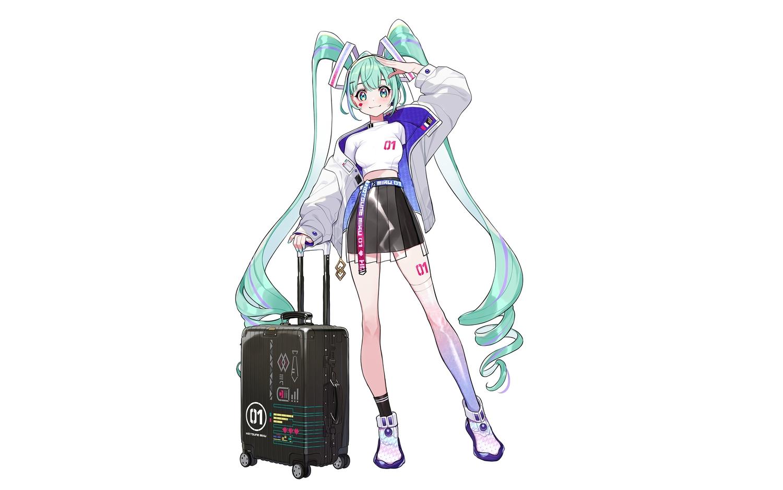 aqua_eyes blush cat_smile green_hair hatsune_miku long_hair see_through skirt tattoo thighhighs third-party_edit twintails vocaloid white yuu_(higashi_no_penguin)