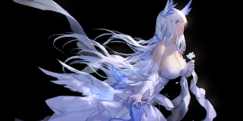 anthropomorphism azur_lane black blue_eyes breasts cleavage dress elbow_gloves flowers gloves illustrious_(azur_lane) long_hair signed swd3e2 white_hair