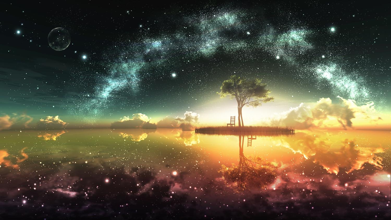 3d landscape moon nobody original reflection scenic sky stars sunset tree water y-k