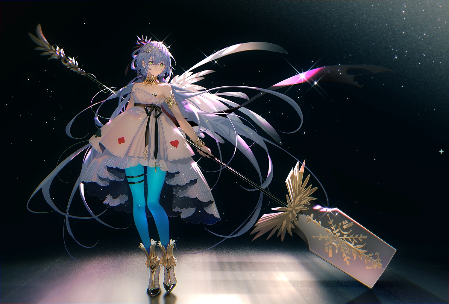dress green_eyes long_hair luo_tianyi pantyhose purple_hair tidsean twintails vocaloid vsinger weapon