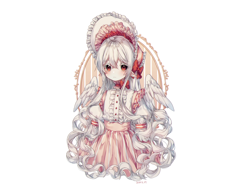 albinoraccoon all_male bow gray_hair headdress lolita_fashion long_hair male original pointed_ears red_eyes skirt trap white wings