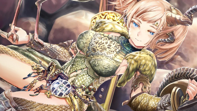 animal aqua_eyes armor (armor) blonde_hair blush close horns long_hair_kulve monster_hunter monster_hunter:_world tagme_(artist) taroth