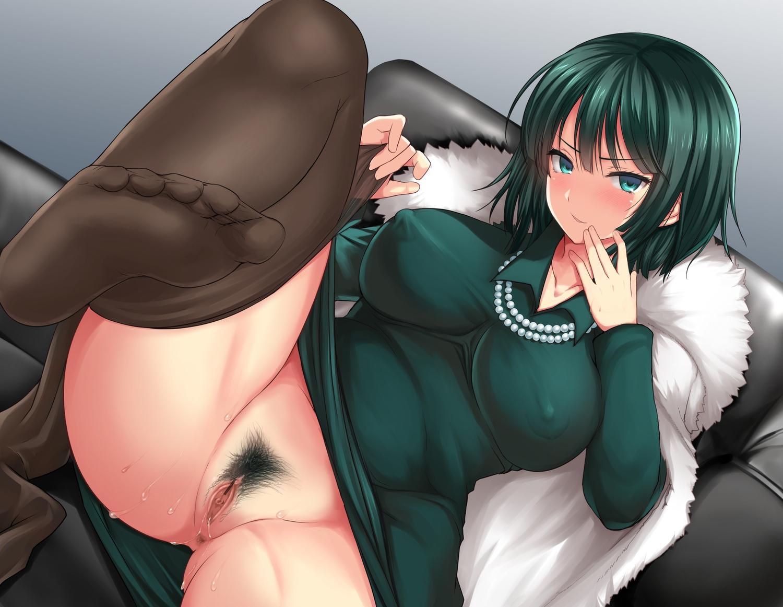 akino_hamo anus breasts censored erect_nipples fubuki_(onepunch_man) green_eyes green_hair necklace nopan onepunch_man pantyhose pubic_hair pussy short_hair spread_legs undressing