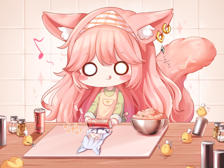 animal animal_ears apron bird blush catgirl chibi drink food gray_hair headdress honyang music original pink_hair tail