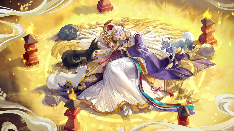 achyue animal bell fox headdress japanese_clothes kimono long_hair miketsu_(onmyouji) onmyouji sleeping white_hair