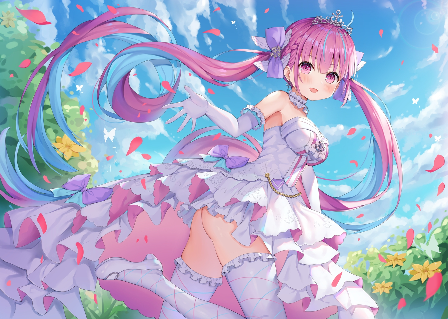 ass hokori_sakuni hololive long_hair minato_aqua nopan pink_eyes pink_hair thighhighs tiara twintails wedding_attire
