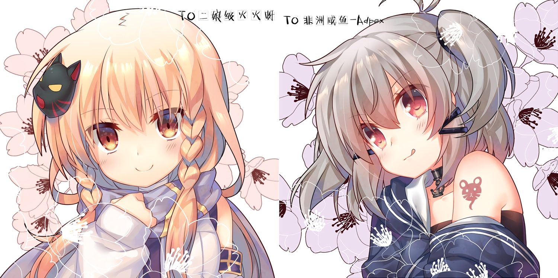 2girls anthropomorphism blonde_hair braids brown_eyes choker flowers gray_hair jiang-ge long_hair murasame_(zhanjian_shaonu) red_eyes scarf shiranui_(zhanjian_shaonu) tattoo waifu2x zhanjian_shaonu