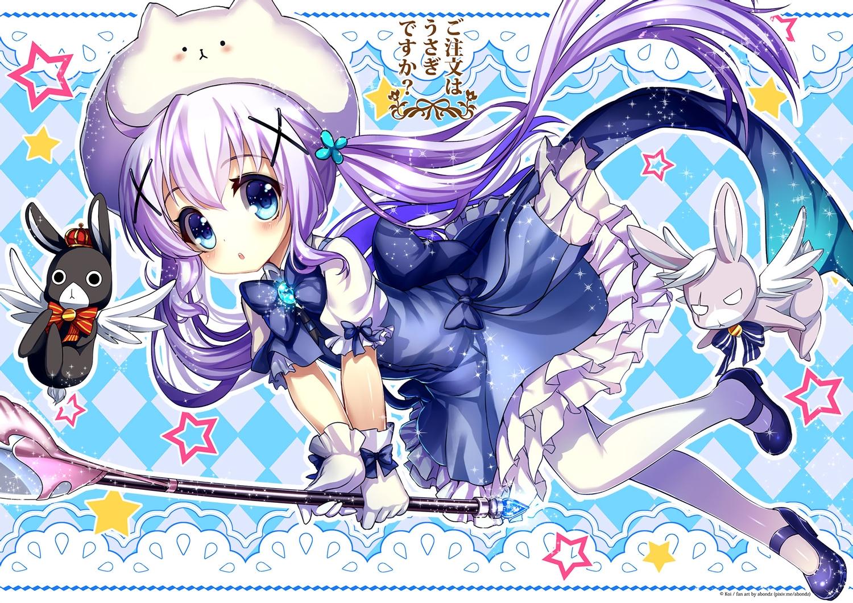 abondz animal anko_(gochiusa) aqua_eyes blush dress gochuumon_wa_usagi_desu_ka? kafuu_chino pantyhose pink_hair rabbit staff tippy_(gochiusa) twintails weapon wild_geese