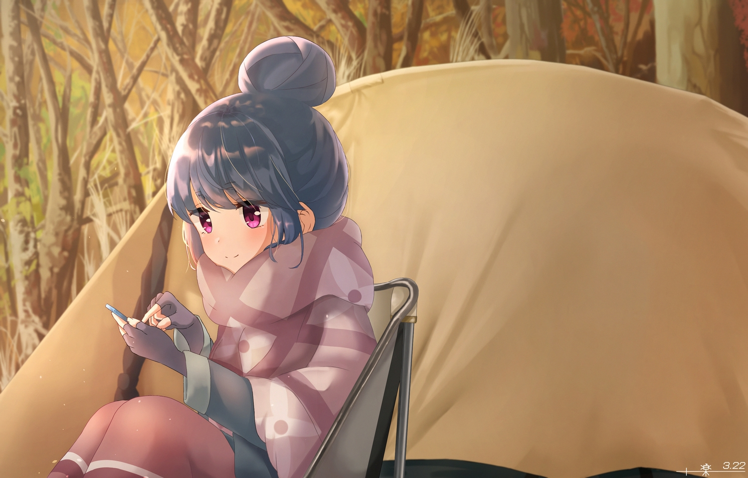 blue_hair purple_eyes raku_rakugaki shima_rin yuru_camp