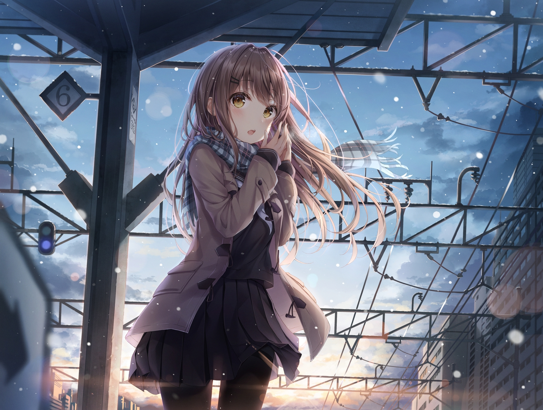 brown_hair building city dangmyo long_hair original pantyhose scarf school_uniform skirt snow sunset train yellow_eyes
